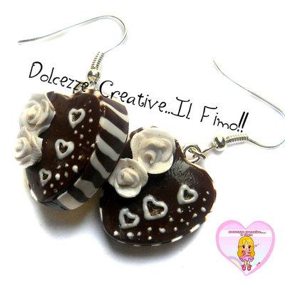 Orecchini torta al cioccolato - cuore - kawaii, handmade, idea regalo