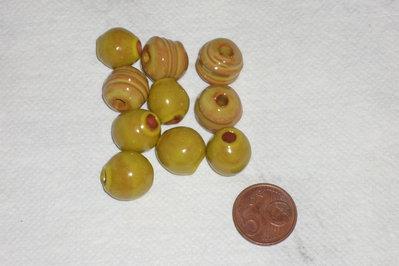 Set 10 perle in ceramica gialle