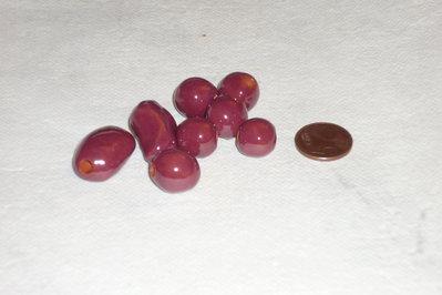 Set 8 perle in ceramica rosa scuro