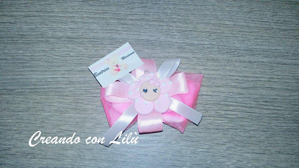 bomboniera completa fiore in fimo bebe cm 4