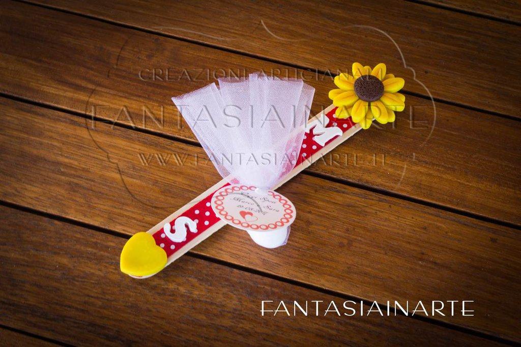 Segnaposto Matrimonio - Segnalibro con Girasole - Personalizzato con le iniziali degli Sposi