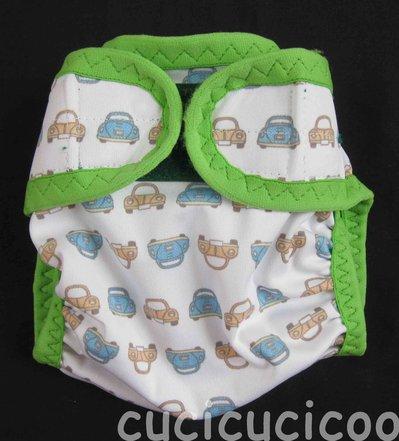 pannolino a tasca M (maggiolini e scimmie, bordo verde)
