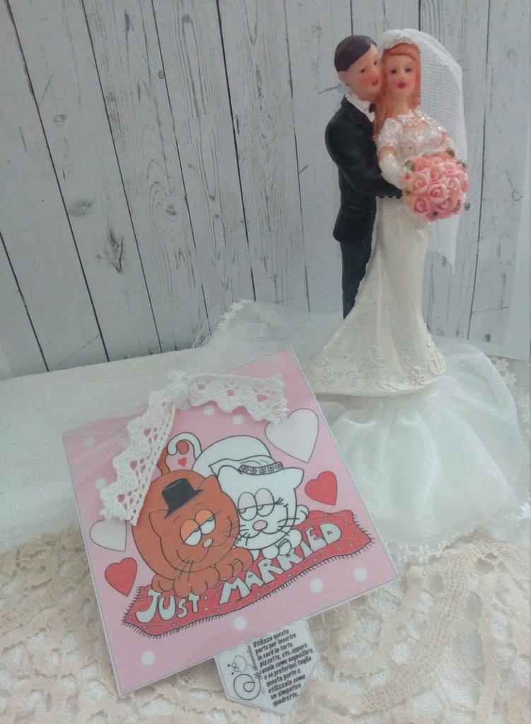 Biglietto d'auguri fatto a mano- Matrimonio dolci gatti