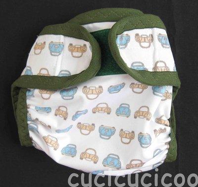 pannolino a tasca M (maggiolini e scimmie, bordo verde scuro)