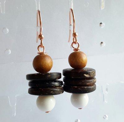 Orecchini in legno e agata -brown-