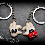 portachiavi lui&lei fimo -Minnie e Topolino-| portachiavi Minnie e Topolino| Minnie e Topolino fimo| portachiavi coppia fimo| idea regalo