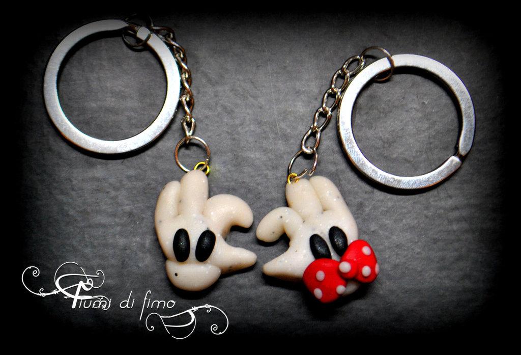 portachiavi lui&lei fimo -Minnie e Topolino-  portachiavi Minnie e Topolino  Minnie e Topolino fimo  portachiavi coppia fimo  idea regalo