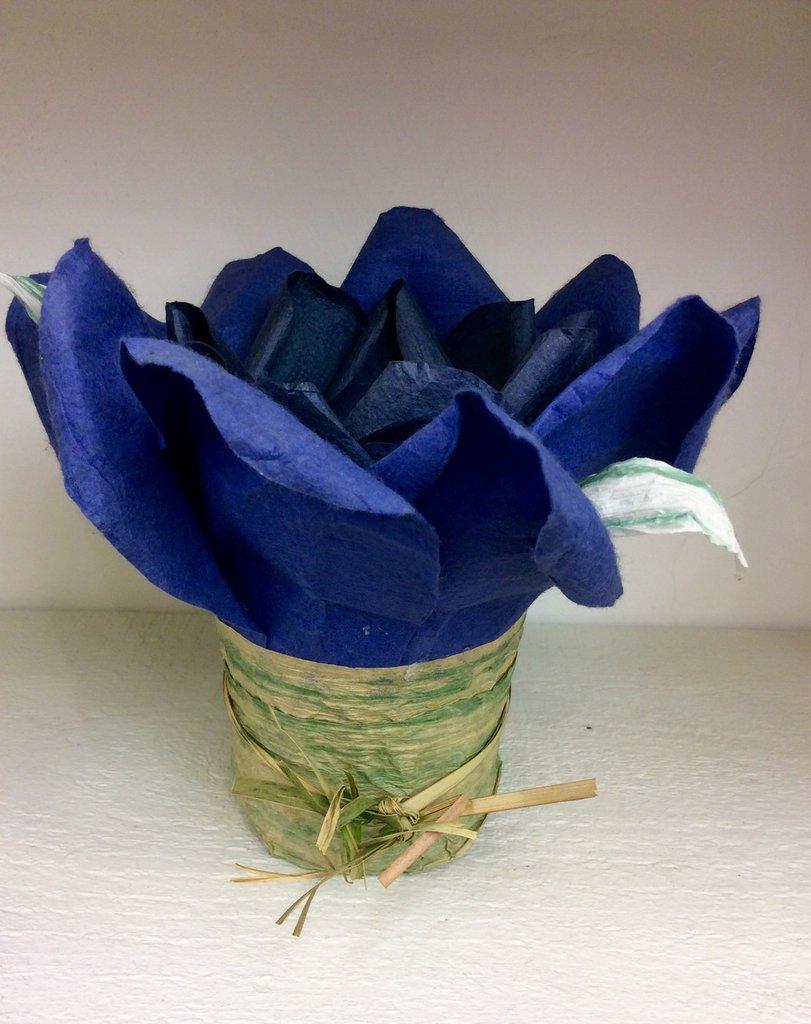 Porta candela fiore blu