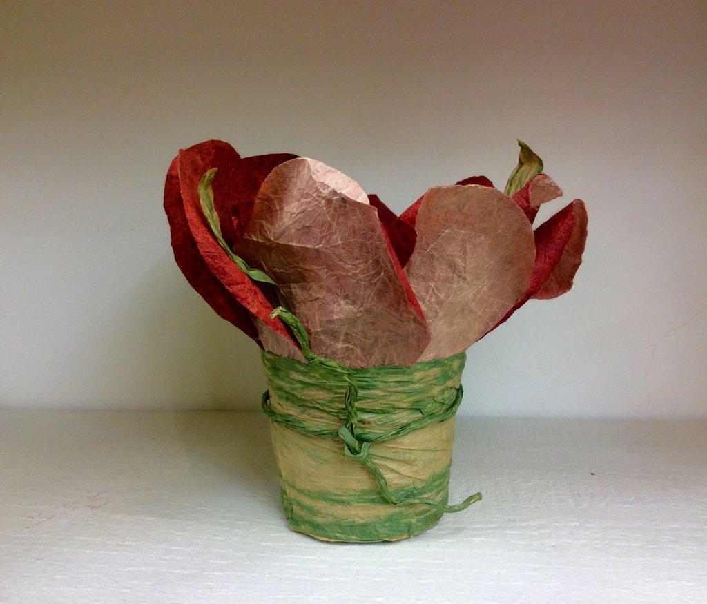 Portacandela fiore rosso