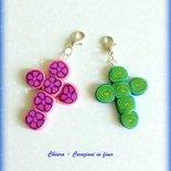 Bomboniere per Comunione e Cresima in fimo handmade Croce con murrine multicolore