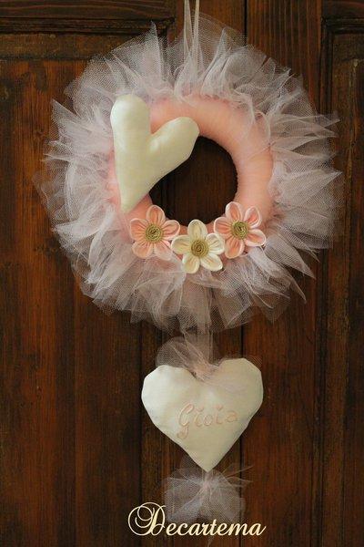 Fiocco nascita rosa ghirlanda in tulle shabby chic