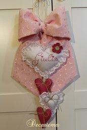 Fiocco nascita Shabby Chic pizzo Sangallo rosa con fiorellino fucsia