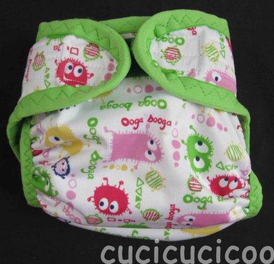 pannolino a tasca M lavabile (mostri e verde)
