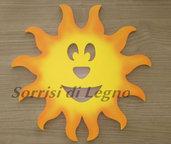 Sole in legno decoro da parete