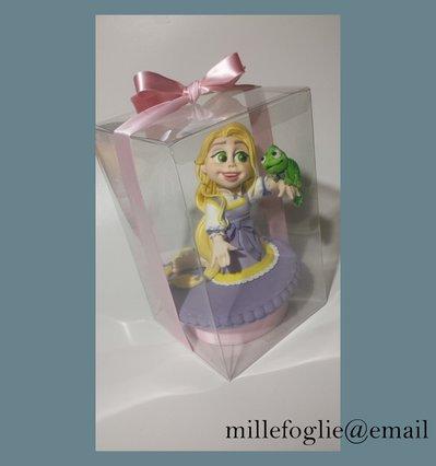 Cake Topper ispirato al cartoon Principessa Rapunzel,in pasta di zucchero