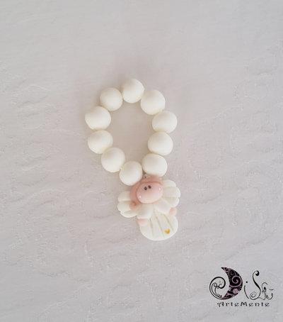 bomboniera prima comunione rosario con angelo bianco per bimba e cuoricino perlescente oro