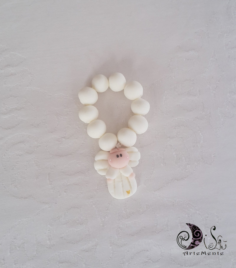 bomboniera prima comunione rosario con angelo bianco per bimbo e cuoricino perlescente oro