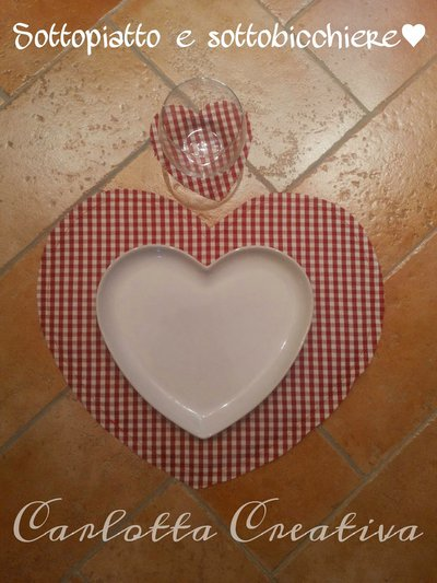 Coppia di Tovagliette / Sottopiatto doubleface  44 cm a forma di Cuore