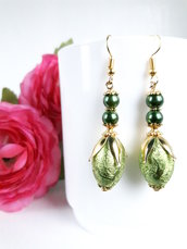Verde orecchini di goccia Ovali