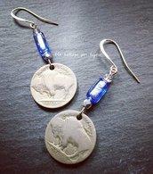 Orecchini con monete d 'epoca americane fuori corso Buffalo o Indian Head