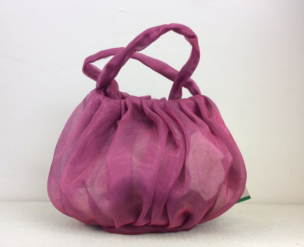 Borsetta in tessuto trasparente rosa