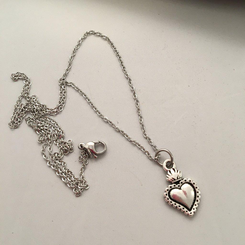 Catenina con Cuore Sacro in Silver Plated