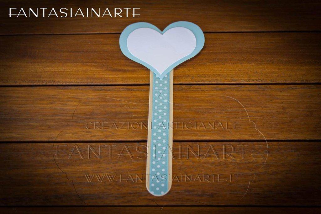 Targhetta Segnagusto Confettata - Cuore Celeste
