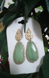 Orecchini  pendenti pietre dure ,giada verde .