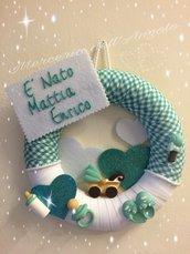 Fiocco nascita baby verde acqua