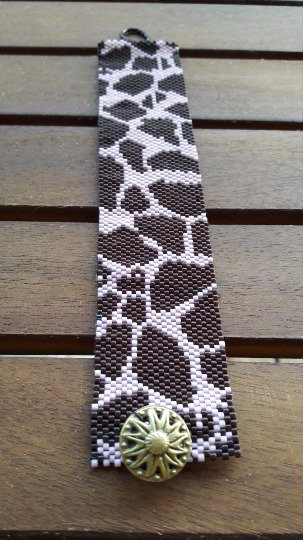 Bracciale stampa leopardo peyote