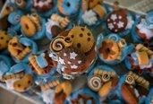 Barattoli portaconfetti con dolci e biscotti in feltro - BOMBONIERE BATTESIMO
