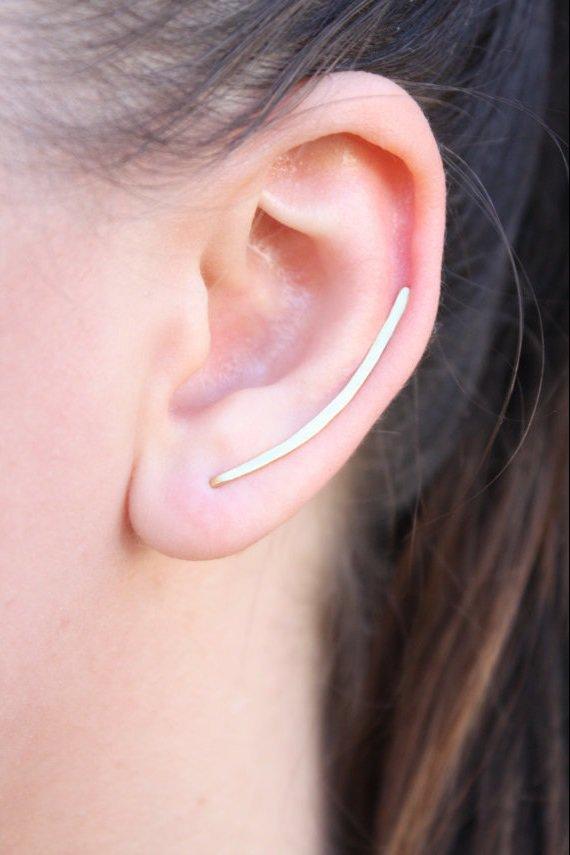 Orecchini Scalatori Ottone Minimal Ear Cuff Orecchini Arco Ear Climber