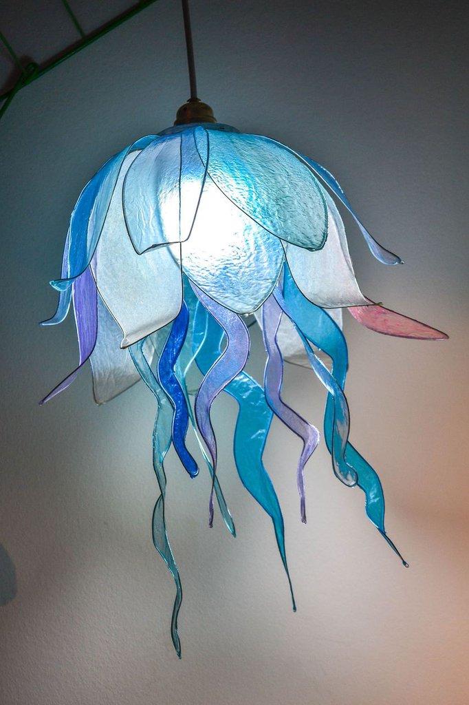 lampadario artistico medusa, lampadario fantastico