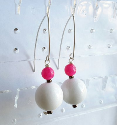 Orecchini pendenti in giada -pink-