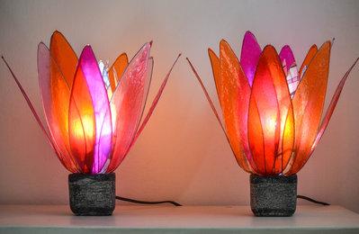 coppia lampade fiore rosso