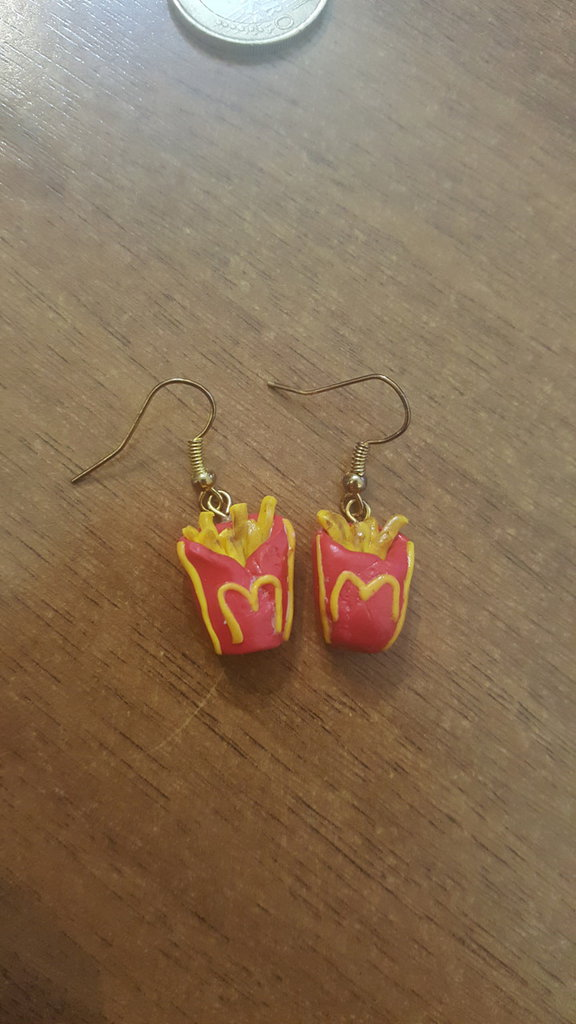 orecchini pendenti patatine fritte