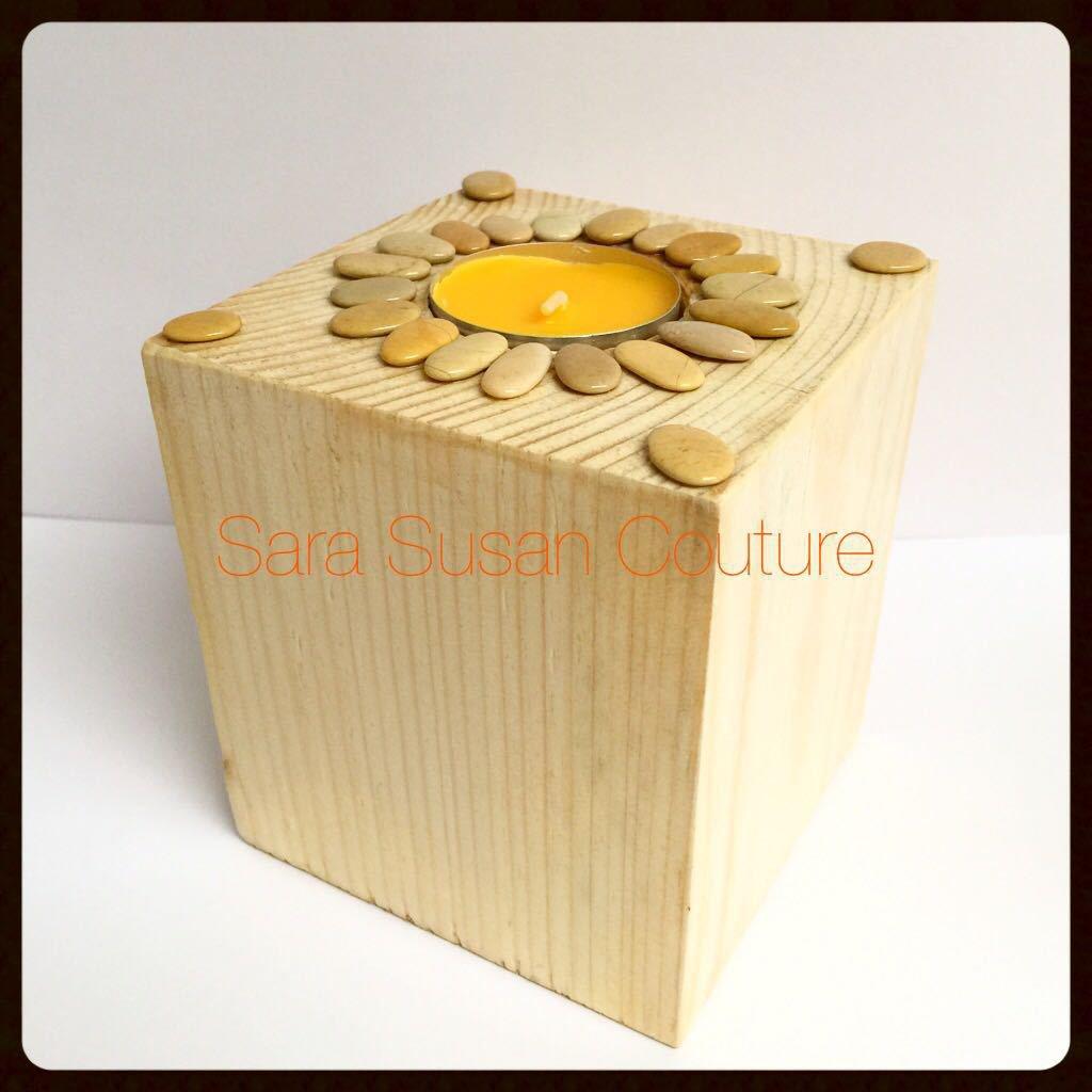 Portacandela in legno naturale - Sara Susan Couture