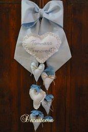 Fiocco nascita azzurro in cotone semplice, in stile shabby chic