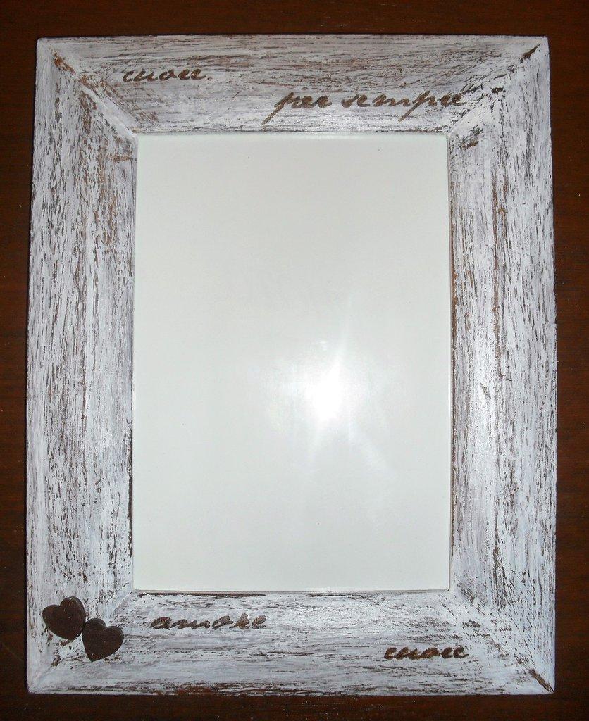 Cornice portafoto da tavolo, marrone, in legno, dipinta a mano