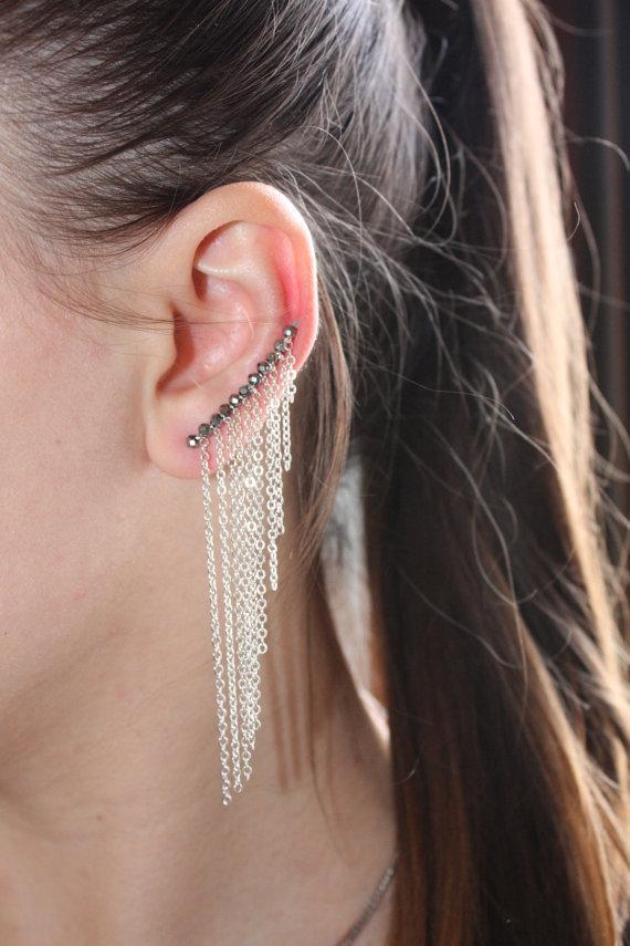 Orecchini Ear Cuff Argento, Ear Climber Chandelier con Frangia di Catenelle