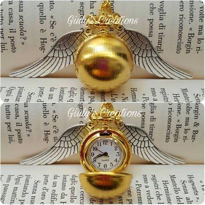 Collana con orologio apribile FUNZIONANTE boccino d'oro di harry potter HP Hogwarts grifondoro