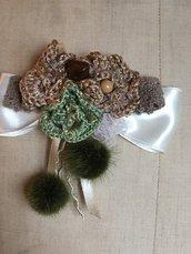 Spilla di fiori all' uncinetto corda e verde- idea regalo