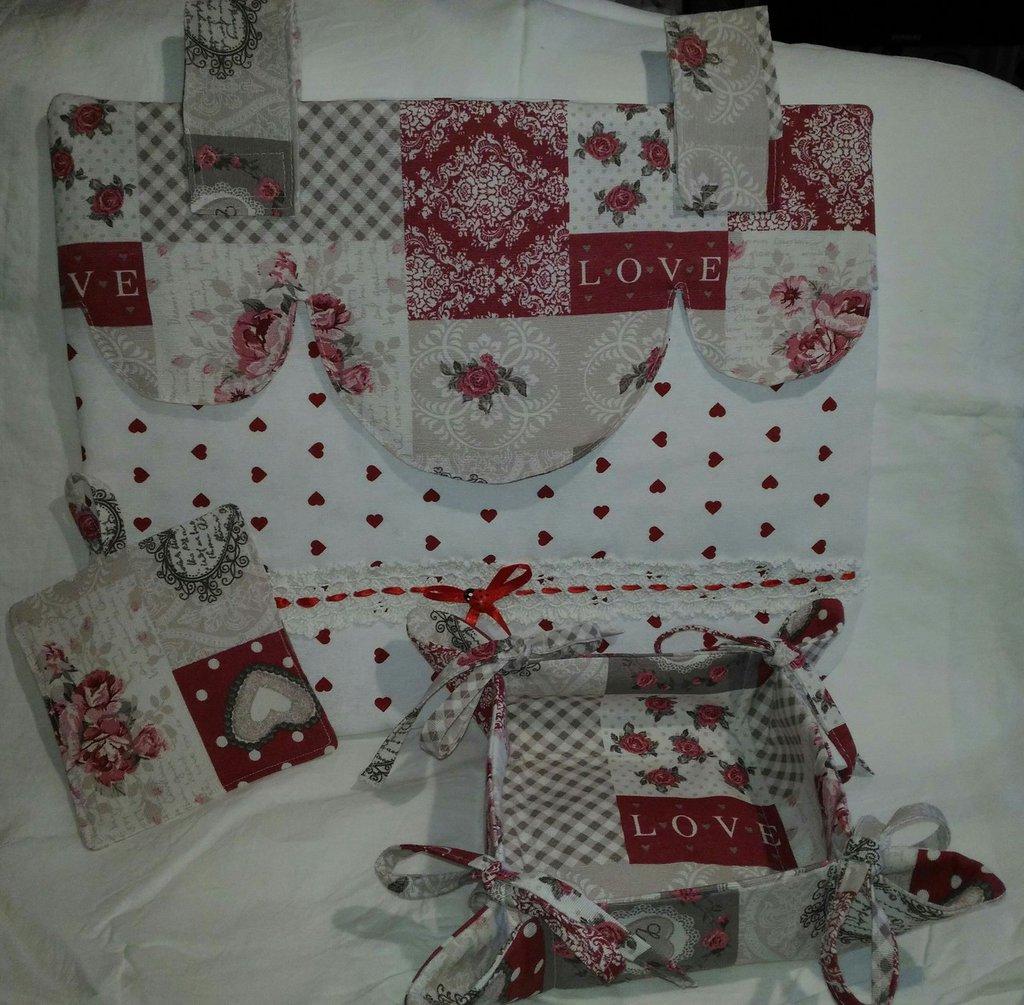 Copriforno in stoffa  cestino e presina in stoffa in set idea regalo