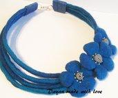 Collana di lana Azzurro-blu