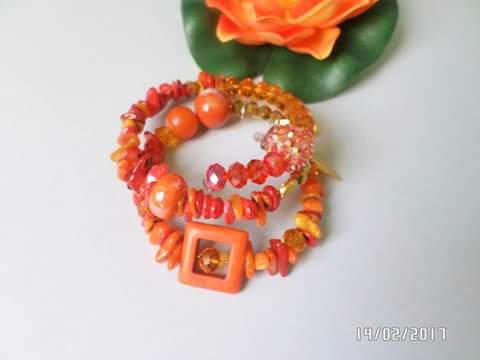 Bracciale orange spirale semi prezioso fatto a mano