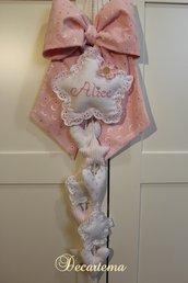Fiocco nascita Shabby Chic rosa romantico Pizzo Sangallo