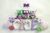 Decorazione con lettere, gufi, civette, cuori e fiorellini per targa nascita: un nome come decorazione per annunciare la sua nascita