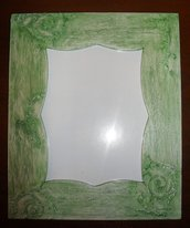 Portafoto da tavolo, verde, in legno, dipinta a mano