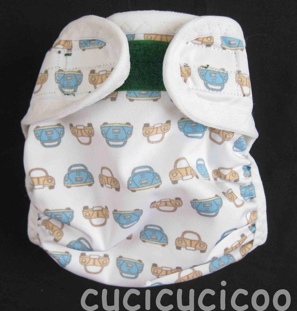 pannolino a tasca S lavabile (maggiolini e scimmie con bordo bianco)
