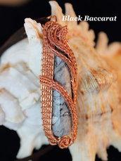 Ciondolo wirewrapped in Rame con Agata Fossile